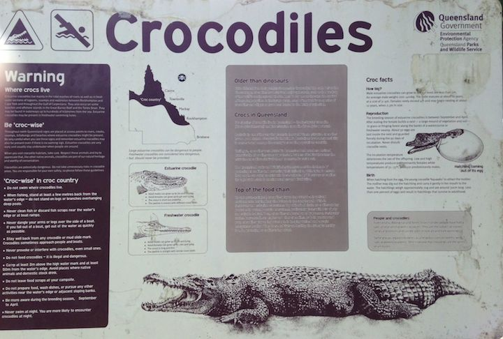 Crocodile warning sign, Daintree National Park