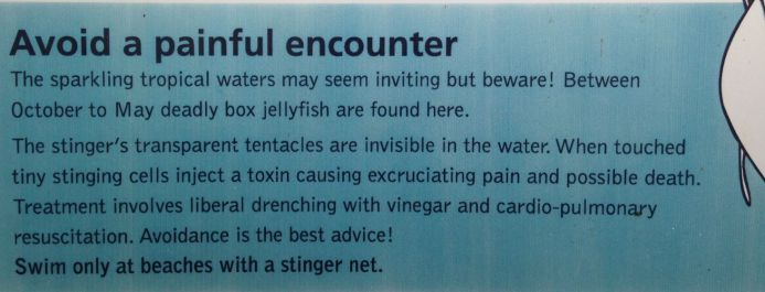 Jellyfish warning sign, Daintree National Park