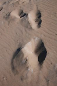 Footprints on Great Sandy Beach NP dune.