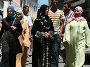 Moroccan women in Tangier medina.