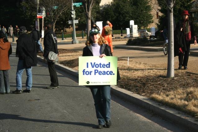 Eddi protesting